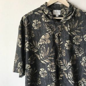 Trader Bay Mens Palm Leaf Hawaiian Shirt